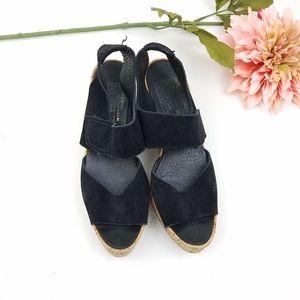 Pedro Garcia platform cork and black suede sandals